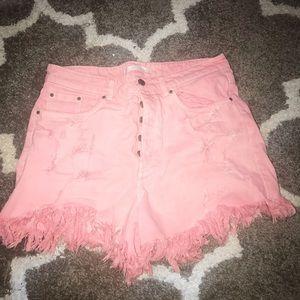 Pink distressed high waist Zara denim shorts